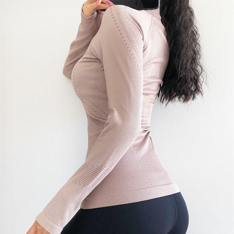 Autumn Winter New Zipper Jacket Quick-Drying Yoga Clothes Long-Sleeve Thumb Hole Training Running Jacket Women Slim Fitness Coat