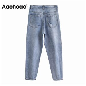 Aachoae Casual Blue Color Harem Pants Women Holes Scratched Retro Long Length Jeans Lady Baggy Loose Trousers Pantalon Femme
