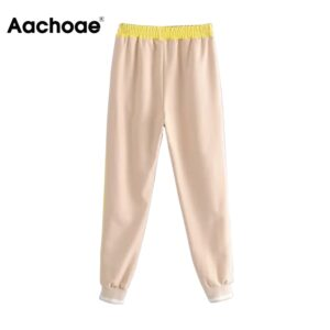Aachoae Casual Long Length Patchwork Sweatpants Elastic Waist Loose Sport Trousers Lady Fashion Daily Joggers Pants Women 2020