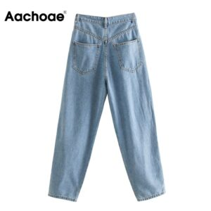 Aachoae Casual Women Slouchy Jeans Pleated Loose Harem Pants Lady Zipper Fly Office Basic Denim Long Trousers Solid Jeans Mujer