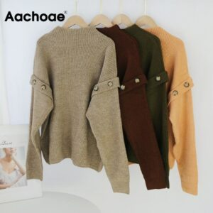 Aachoae Solid Knitted Sweater Women Batwing Sleeve Loose Casual Lady Pullover Sweaters Button Decorate O Neck Tops Pull Femme