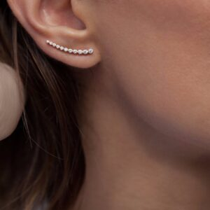 New Arrival best friends 925 sterling silver sweep cz long wire thread ear climber women Climber 925 silver earring