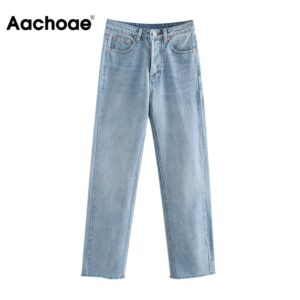 Aachoae Women Retro Light Blue Color Long Jeans Raw Edge Baggy Denim Pants Lady Button Fly Straight Casual Mom Jeans Pantalones