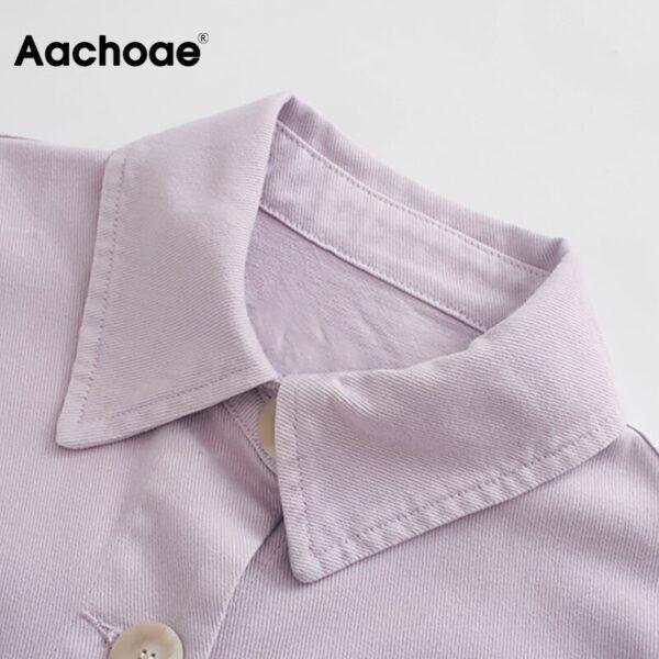 Aachoae Women Loose Solid Jacket Big Pocket Tassel Chic Coat Outerwear Batwing Long Sleeve Purple Color Short Jacket Female