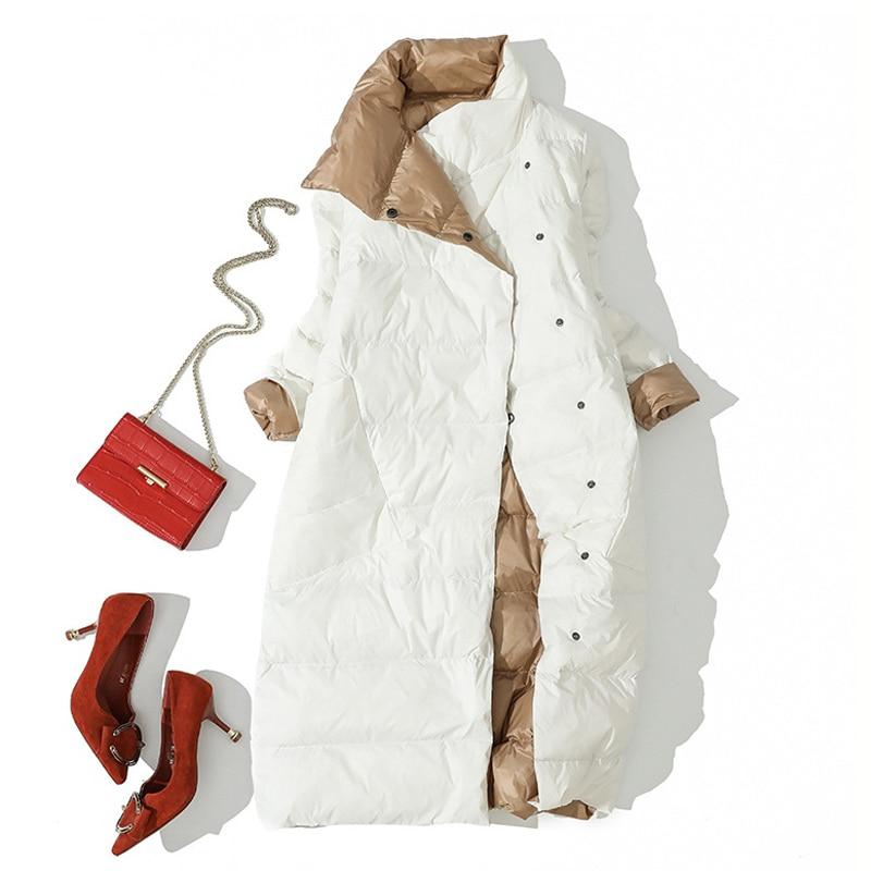 2020 Winter Duck Down Jacket For Women White Duck Down Coat Double Side Wear Snow Long Parkas Warm Femal Outwear Brand Clothing