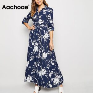 Aachoae 2020 Floral Print Long Women Dress Vintage Loose Female Buttons Shirt Dress Turn Down Collar Ladies Office Split Dresses