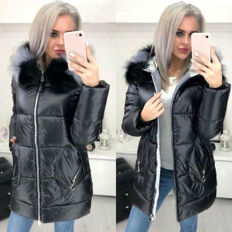 FORERUN Big Fur Hooded Jacket Women Long Winter Coat Female Glossy Casual Jackets Cotton Padded Parka Manteau Long Femme Hiver