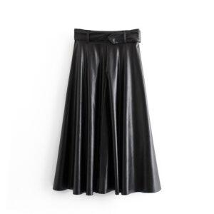 Aachoae Women Vintage Faux Leather Skirt With Belt 2020 Elegant Office Ladies Black PU Midi Skirt Pleated Casual Ladies Skirts