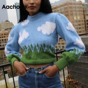 Aachoae O Neck Casual Print Knitted Sweater Women Lantern Long Sleeve Loose Tops Lady Soft Warm Pullover Sweater Jumper Sueter