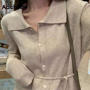 Aachoae Pure Knitted Elegant Dress Women Long Sleeve Soft Casual Midi Dress With Belt Turn Down Collar Office Shirt Dress 2020