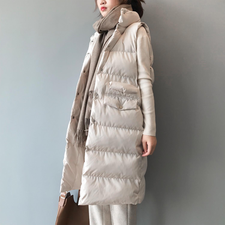 Winter Long Sleeveless Vest Coats Women Stand Neck Slim Cotton Padded Jacket Vests Korean Fashion Jacket Woman Waistcoat