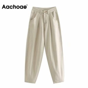 Aachoae Women Loose Mom Jeans Long Khaki Pants Streetwear Washed Pockets Cowboy Pants Casual Ladies Denim Pants Trousers Bottoms