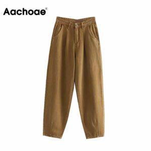 Aachoae Women Slouchy Jeans Harem Pants Boyfriend Jeans Casual Pockets Ladies Zipper Bottoms Loose Denim Long Trousers Mom Jeans