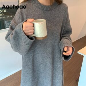 Aachoae Solid Oversize Knitted Dress Women Casual Batwing Long Sleeve Loose Long Dress Home Style O Neck Black And Gray Dress