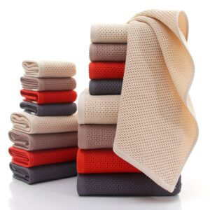 3-Pieces/Set Honeycomb Thin Cotton Towel Set Summer Bathroom Towels Small Face Hand Towel Brown Grey Absorbent Washcloth