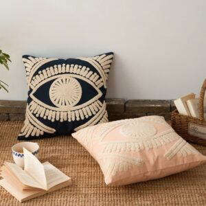Ivory Navy Cushion Cover 45x45cm Cotton Thread Embroidery Home Decorative Throw Pillow Cover 45x45cm Pink Art Decor Pillowcase