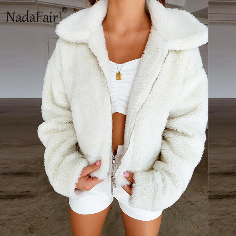Nadafair Teddy Coat Women Winter Faux Fur Coat Thick Plus Size Fluffy Pockets Plush Jacket Ladies Autumn Overcoat Outerwear
