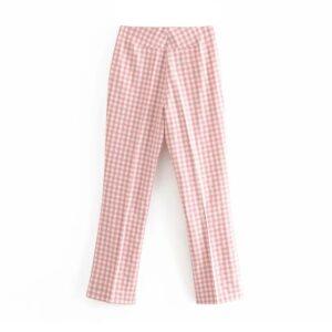 Aachoae Women Plaid Pants Elastic Waist Sheath Pencil Pants Lady Zipper Fly Pink Color Fashion Long Trousers Pantalon Femme