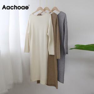 Aachoae O Neck Knitted Dress Women Batwing Long Sleeve Basic Casual Straight Dress Soft Home Style Lady Long Dresses Vestidos