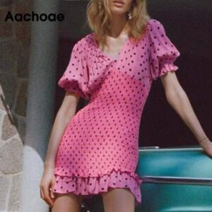 Aachoae Women Chic Polka Dot Party Mini Dresses 2020 V Neck Short Sleeve Pink Pleated Dress Ruffle Elastic Casual Dress Vestidos