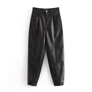 Aachoae 2020 Women Black Faux Leather Pants Fashion Streetwear Loose Harem Pants Ladies Winter Pu Leater Long Trousers