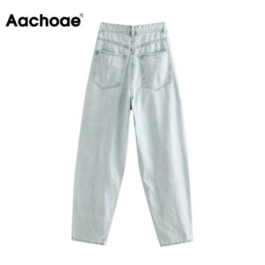 Aachoae Retro Solid Harem Pants Jeans Women Casual Loose Long Length Jeans Female Baggy Basic Office Lady Denim Trousers 2020