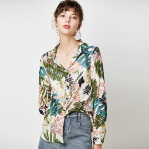 Aachoae Vintage Floral Print Women Shirts 2020 Casual Loose Blouse Long Sleeve Turn Down Collar Office Shirt Tops Camisas Mujer