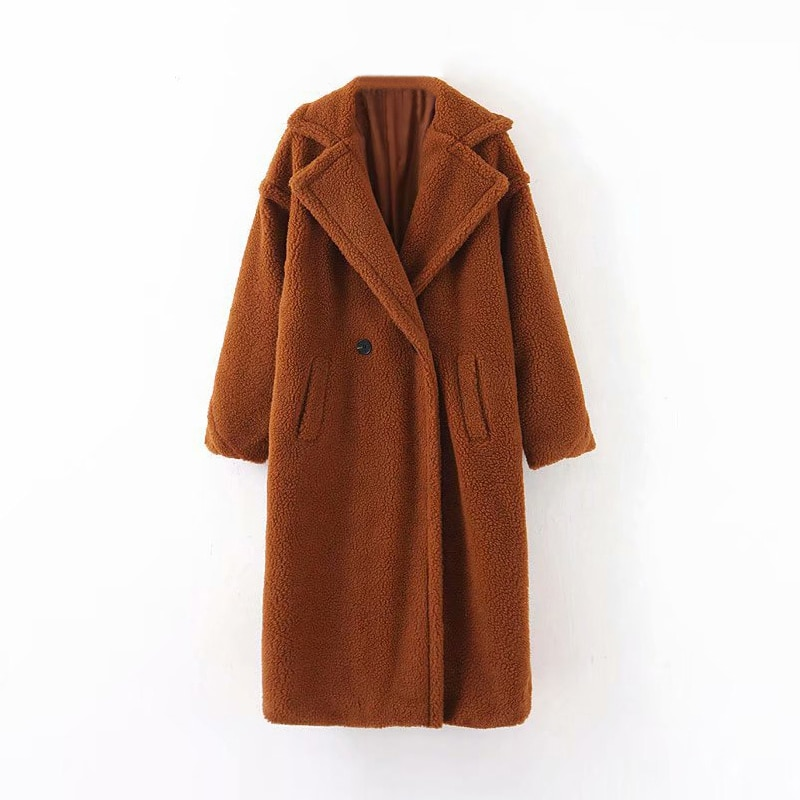 Aachoae Winter Casual Solid Teddy Coat Women Long Sleeve Fleece Long Jacket Turn Down Collar Lamb Fur Coat Outerwear Fourrure