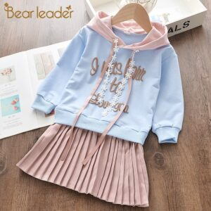 Bear Leader Girls Dress 2020 New Spring Casual Ruffles A-Line Striped Full Sleeve Kids Dress for 3T-7T Autumn Letter Vestido