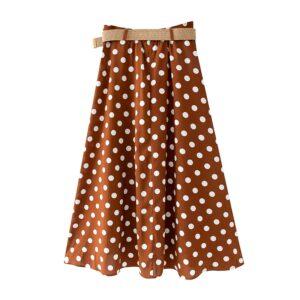 Aachoae 2020 Summer Women Polka Dot Print Skirt With Belt Button High Waist Loose Midi Skirt Female Beach Skirts Lady Jupe Femme
