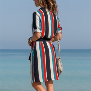 Aachoae Dress 2020 Summer Striped A-line Print Boho Beach Dresses Women Long Sleeve Office Shirt Dress Mini Party Dress Vestidos
