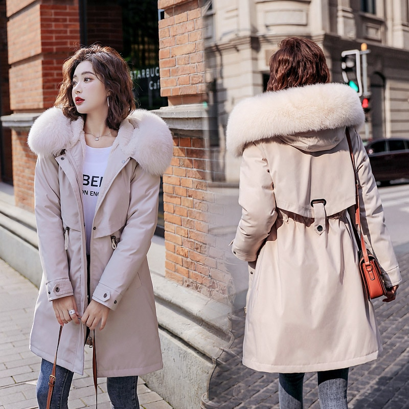 Winter Women fleece inside parkas plus size thick warm mid-Long Hooded parkas Jackets fur inside female slim padding parkas