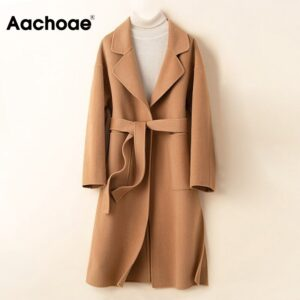 Aachoae 100% Wool Long Coat With Belt Women Elegant Long Sleeve Winter Pockets Overcoat Casual Side Split Outerwear Coats