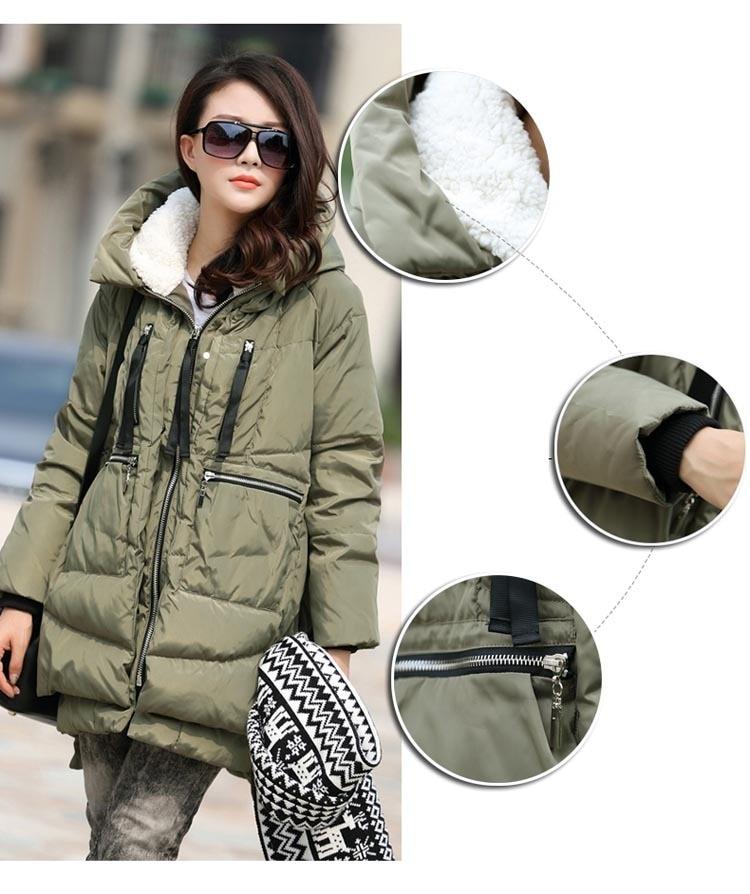 Large Size M-5XL Women's Winter Cotton Coat Army Green Zipper Big Pocket Jacket Female Thicken Warm Hooded Outwear Parkas MY169