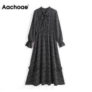 Aachoae Vintage Elegant Bow Tie Collar Print Dress Women Long Sleeve Ruffle Midi Dress Elastic Waist Casual Black Dresses 2020