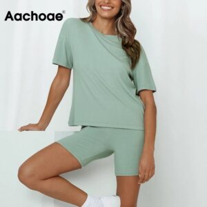 Aachoae Solid 2 Piece Set Women Summer Batwing Sleeve Casual Sports T Shirt+Bodycon Biker Shorts Set Tracksuit Sportswear Suit