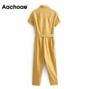 Aachoae Solid Office Wear Jumpsuit Women Turn Down Collar Casual Jumpsuit With Belt Baggy Short Sleeve Full Length Jump Suit