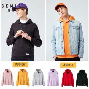 SEMIR Thermal Hooded Sweatshirt for Men Pullover Hoodie Sport Sweatshirt with Kangaroo Pocket and Drawsring Hood for Autumn