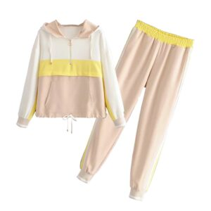 Aachoae Sports Style Two Piece Set Women Batwing Sleeve Patchwork Hooded Hoodies Full Length Casual Jogger Pants Lady Outfit