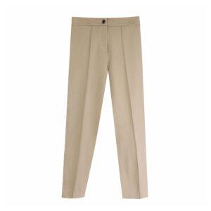 Aachoae Women Solid Elegant Pants Leggings Pleated Side Leg Split Pencil Pants Lady Zipper Fly Casual Skinny Trousers Pantalon