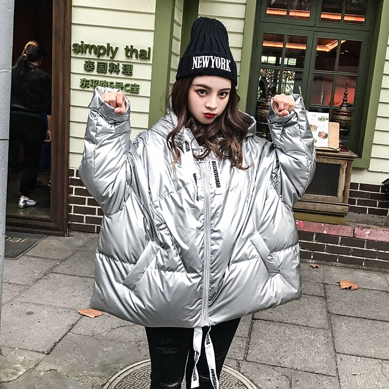 2019 Winter Glossy Bright Down Parka women's Hooded Coat Zip jacket large size Loose Winter Warm Thick Parka Women Jacket