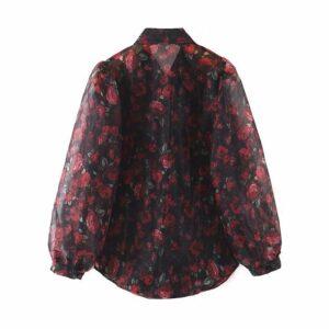 Aachoae Women Elegant Floral Print Organza Blouse Shirt Lantern Long Sleeve Blouses Casual Turn Down Collar Chic Shirt Tunic