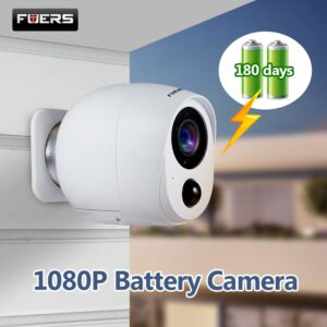 Fuers Outdoor IP Camera 1080p HD Battery WiFi Wireless Surveillance Camera 2MP Home Security PIR Alarm Audio Low Power