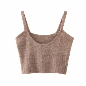 Aachoae 2020 Spring Fashion Knitted Sweater Vest Women Sexy Sleeveless Sweater Tunic Chic Spaghetti Strap Casual Solid Crop Top