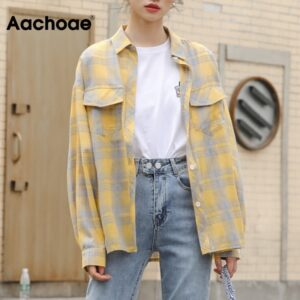 Aachoae 2020 Plaid Blouse Women Turn Down Collar Loose Ladies Tops Pockets Batwing Long Sleeve Female Casual Shirt Blusas
