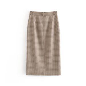 Aachoae Vintage High Waist Women Plaid Pencil Skirt Spring Split Midi-long Skirts Casual Pockets Zipper Female Office Skirt