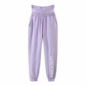 Aachoae Sport Wear Mesh Patchwork Jogger Pants Women Fashion High Waist Long Sweatpants Ladies Letter Print Purple Trousers