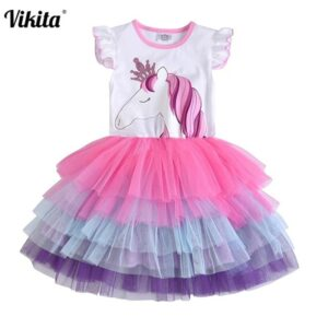 VIKITA Girls Unicorn Tutu Dress Kids Sequined Princess Vestido Girls Birthday Party Dress Children Summer Dresses Kids Clothes