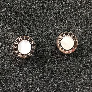 Martick Stainless Steel Roman Numeral Stud Earrings For Women 10mm Diameter High Quality Shell Earrings Brand Fashion Jewelry G5