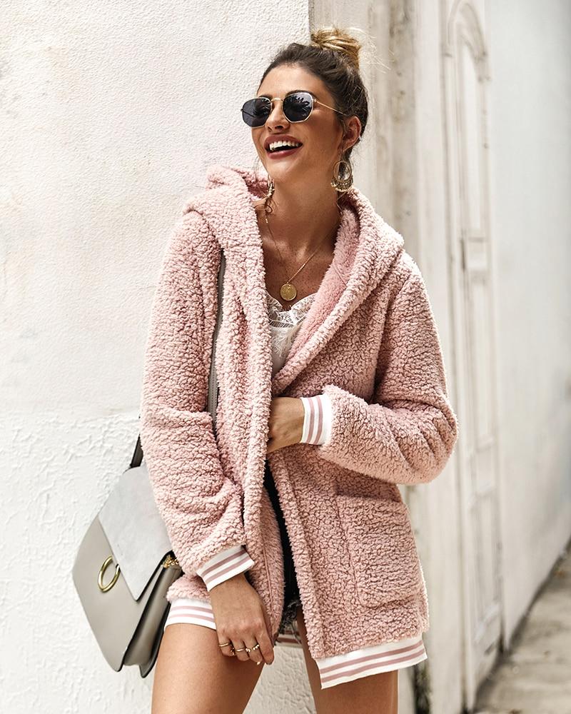 Nadafair Faux Fur Coat Women Hooded Winter Casual Teddy Coat Autumn Pockets Plus Size Fur Jacket Fleece Fluffy Overcoat Outwear
